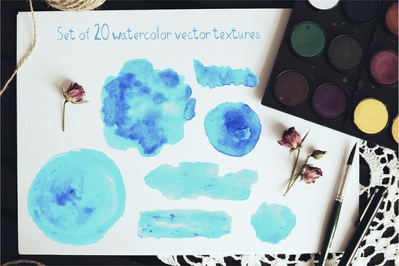 Set Of 20 Watercolor Blobs Strokes