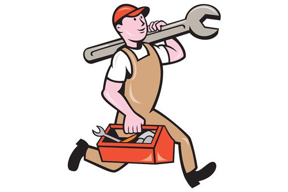Mechanic Carrying Spanner Toolbox Ru