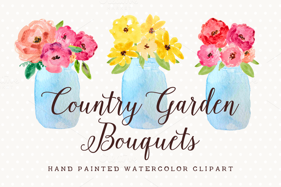 Country Flowers In Mason Jar Clipart