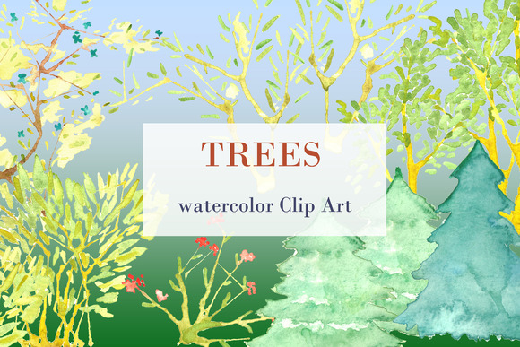 Trees Watercolor Clip Art