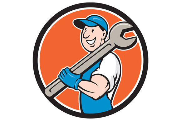 Mechanic Smiling Spanner Standing Ci
