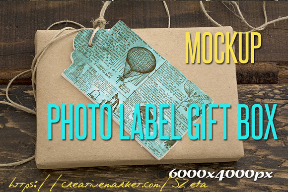 Photo Mockup Label And Gift Box