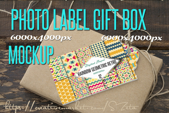 Photo Mockup Label And Gift Box Rec