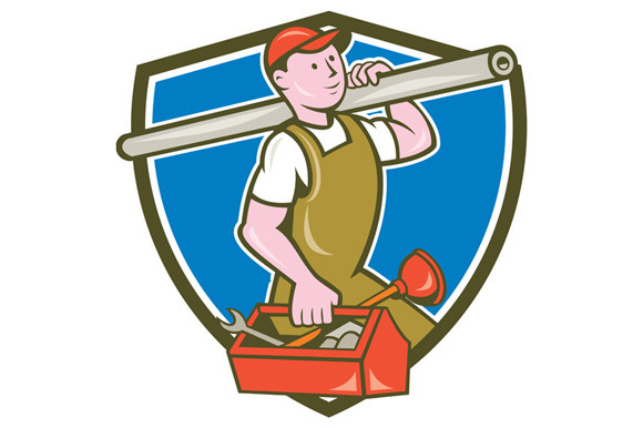 Plumber Carrying Pipe Toolbox Crest