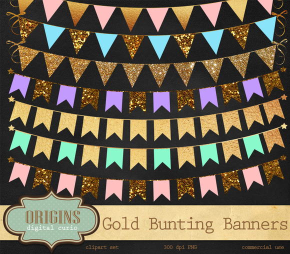 Gold Bunting Banner Clipart