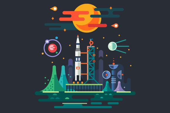 Space Landscape Rocket Launch