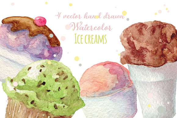 4 Watercolor Ice Creams Vectorized
