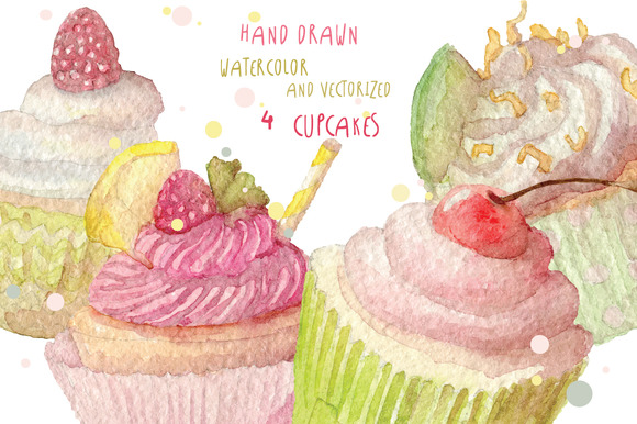 Watercolor Cupcakes Set