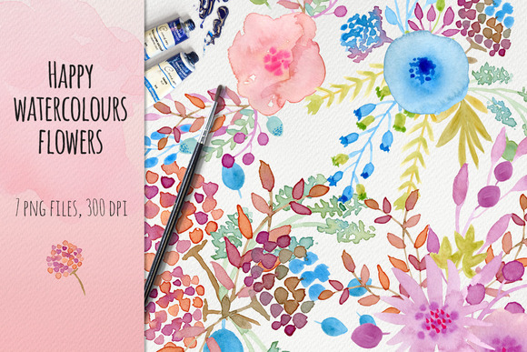 Happy Watercolour Flowers