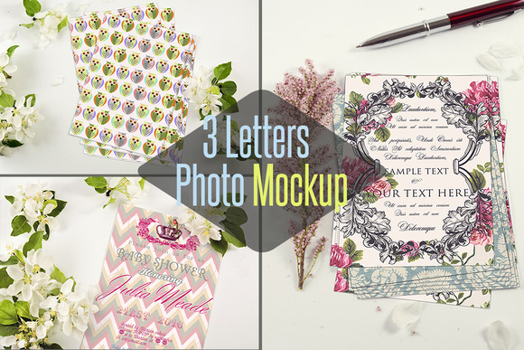 3 Letter And Flowers Mockup