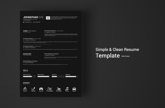 Simple Clean Resume Dark Version