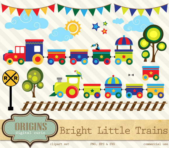 Bright Little Trains Clipart