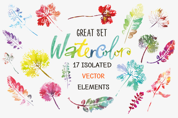 Creative Set Of 17 Watercolor Leaves