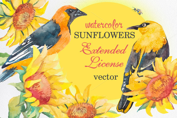 Watercolor Sunflower Patterns