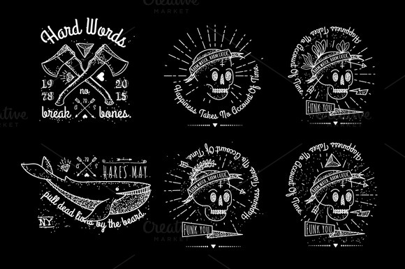 Badges Vector Set With The Skull