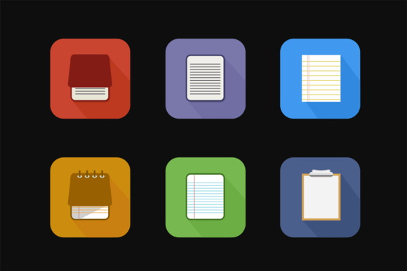 6 Colorful Notepad Icons