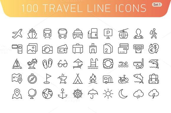 Travel Line Icons Set 1