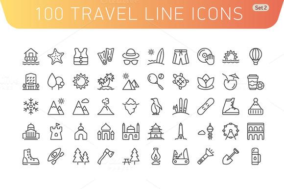 Travel Line Icons Set 2