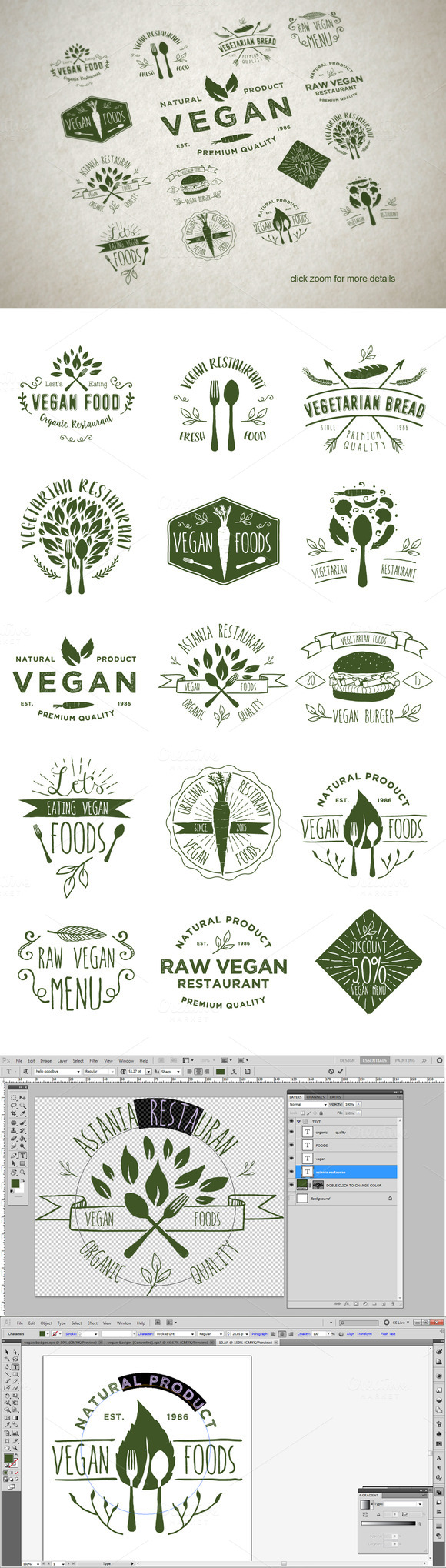15 Vegetarian Foods Badges