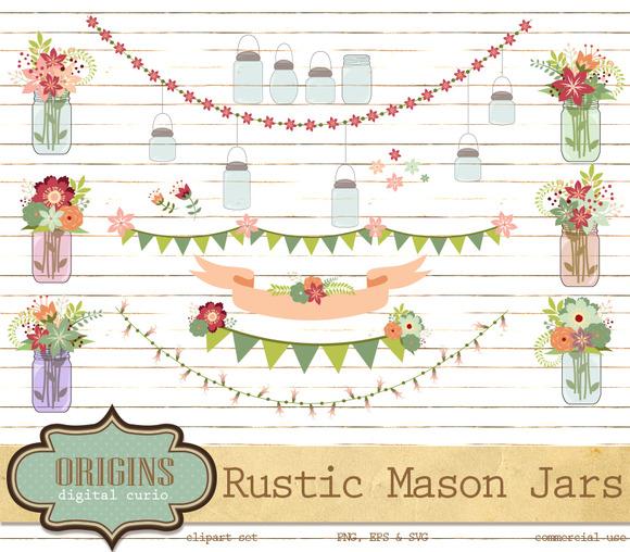 Rustic Mason Jars Clipart
