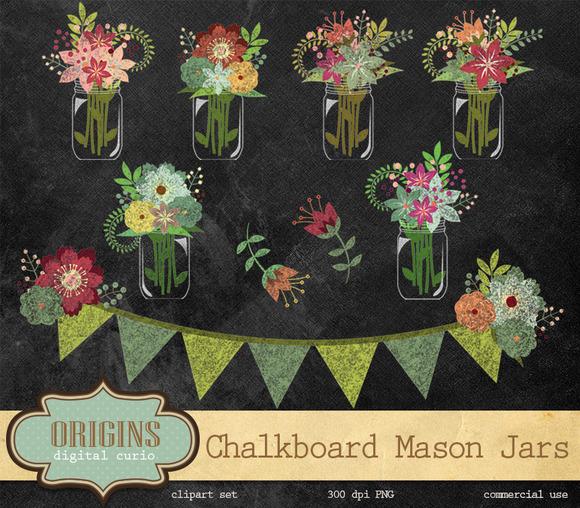 Chalkboard Floral Mason Jars