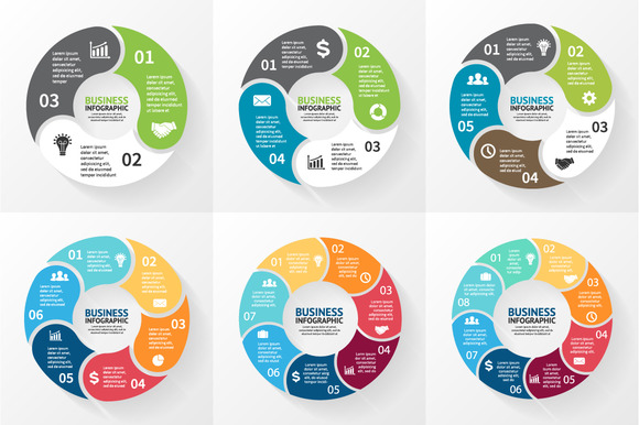 6 Cycle Round Flat Infographics