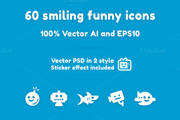 60 Smiling Funny Icons Stickers