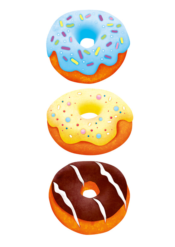 Three Donuts With Clipping Path