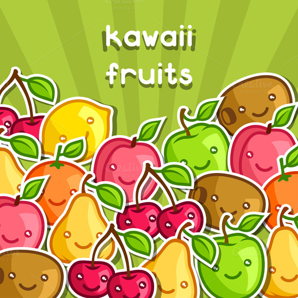 Background With Kawaii Fruits