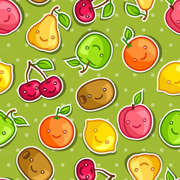 Seamless Pattern With Kawaii Fruits