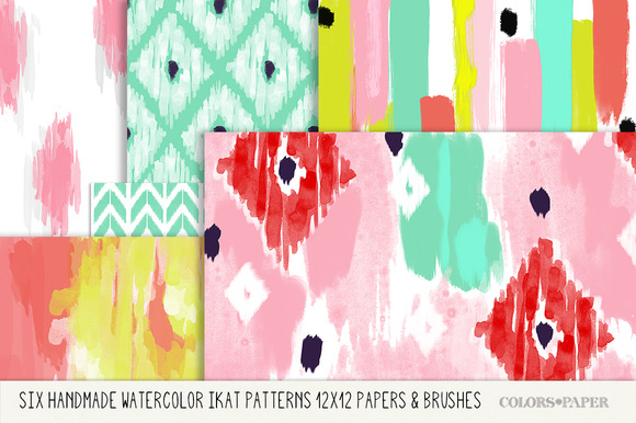 Watercolor Ikat Papers Brushes
