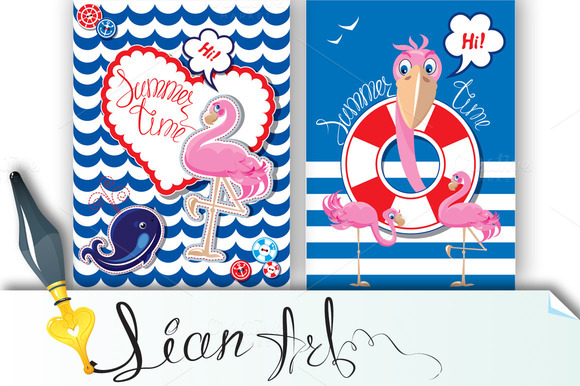 2 Funny Cards With Pink Flamingo