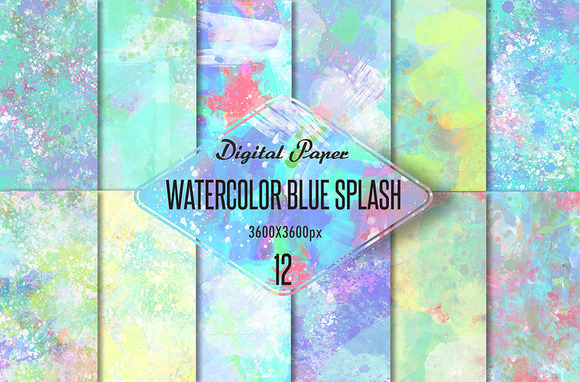 Watercolor Blue Splash-digital Paper