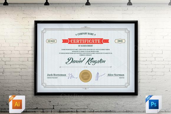 Certificate Template Vector PSD