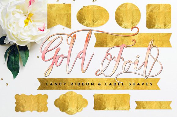 Gold Foil Ribbon Label Shapes