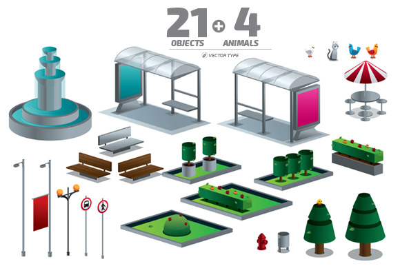 Objects Of The City Isometric Set