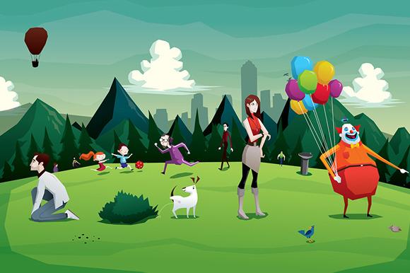 Cartoon Park City Illustration