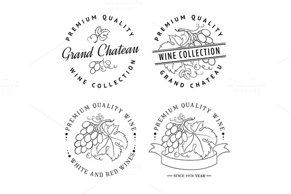 Template Logo For Wine With Grapes
