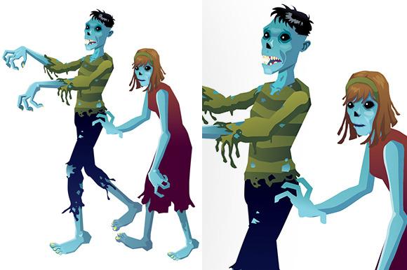 Zombies Cartoon Isolated