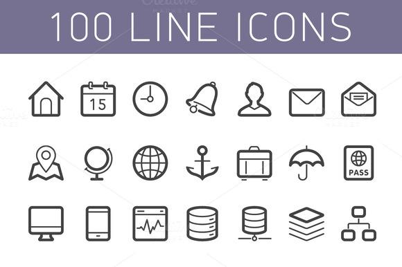 100 Line Icons