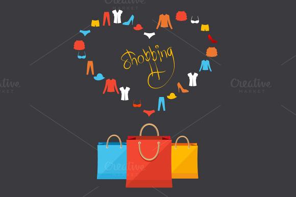Vector Shoppinng Concept Card
