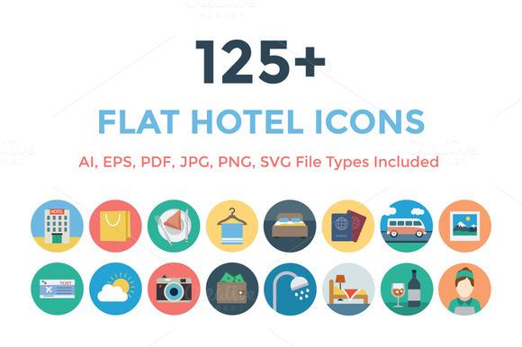 125 Flat Hotel Icons