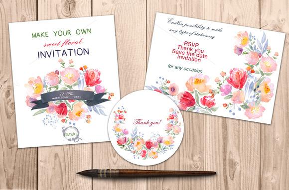 Watercolor DIY Roses Graphics Set
