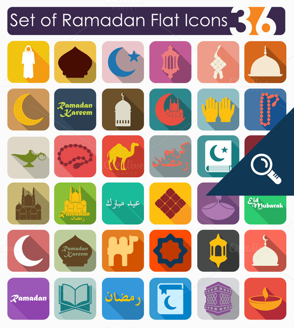36 RAMADAN Flat Icons
