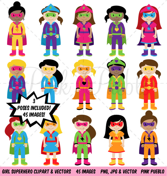 Girl Superhero Clipart Vectors