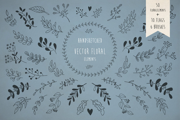 Hand Drawn Floral Elements Pack