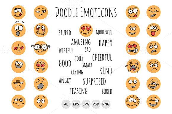 Hand Drawn Emoticons Doodle