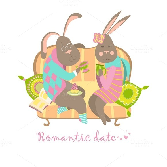 Cute Bunnies In Love