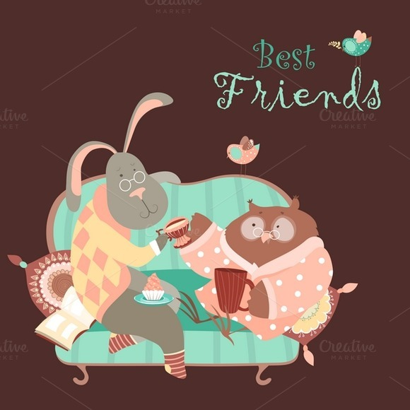Rabbit And Owl Drink Coffee On Couch