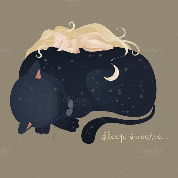 Girl Sleeping With Black Cat